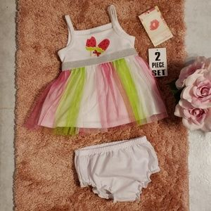 Watermelon tulle- like dress with bloomers